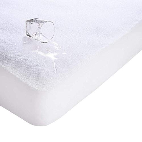 Towelling Mattress Protector (Rhodesy Twin Size Waterproof Mattress Protector, Breathable Terry Toweling and Cotton Top Anti Allergy Bedding (Twin Size: 39