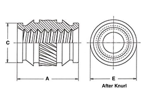 Unified ISC-832 Symmetrical Pem Heat Staking Insert Thru-Threaded