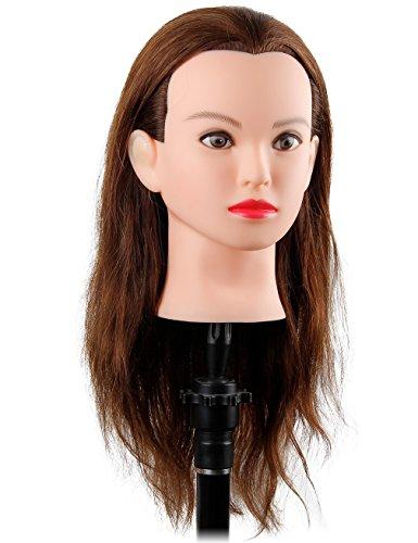 "Beauty : 22"" Cosmetology Mannequin Head 100 Human Hair Doll Head for Braiding Hair Manikin Head for Styling - Debora"
