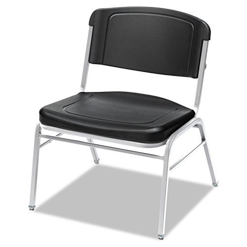 Iceberg 64121 Rough N Ready Series Big & Tall Stackable Chair, Black/Silver, 4/Carton