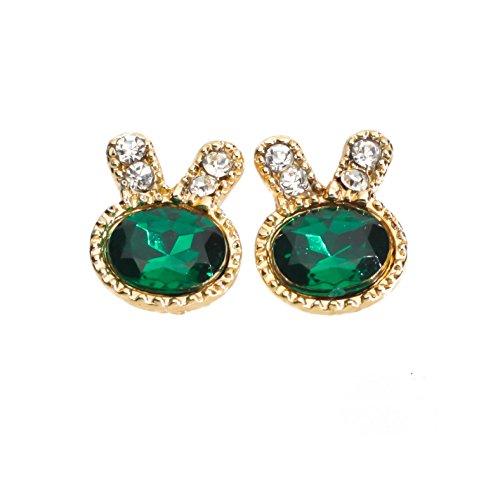 CAETLE ® Bunny Rabbit Bling Bling Green Gem Stone Zirconia Stud Earrings (Sexy Bunny Makeup)