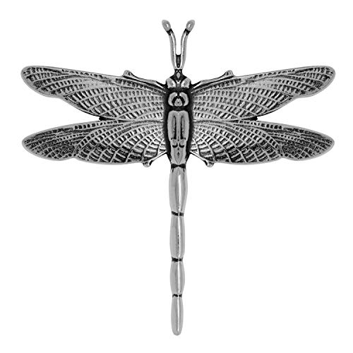 Raposa Elegance Sterling Silver Dragonfly Slide Pendant (approximately 45.5 mm x 45.5 mm)