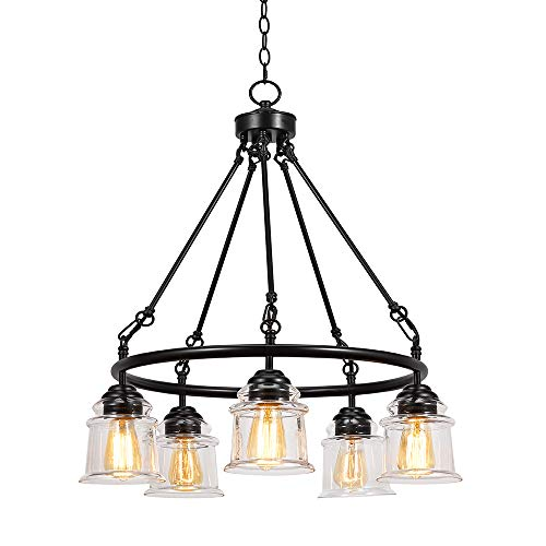 Stone & Beam Modern Farmhouse Dark Bronze 5-Light Round Chandelier, 29