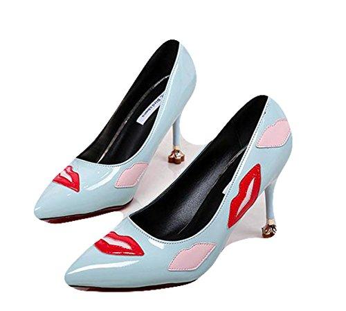 Ein bißchen 2018 Individualität Lippe Kiss Me Damen High Heels Pumps Blau