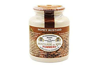 French Whole Grain Mustard with Honey in a Crock - Moutarde de Meaux - 8.8oz