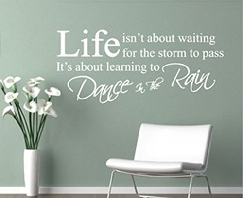 MLM 13.7″×29.5″ Life Isn't About Waiting for the Storm to Pass Inspirational Quotes Wall Art Sticker Vinyl Removable Wall Decal Home Decor Mural (White)