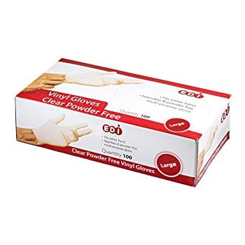 EDI Clear Powder Free Vinyl Glove,Disposable Glove,Industrial Glove,Clear, Latex Free and Allergy Free, Plastic, Work, Food Service, Cleaning,100 Gloves per ...