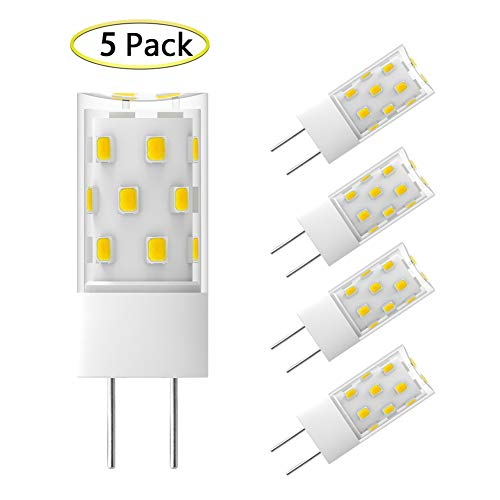 - GY6.35 LED Bulb Dimmable 5W Equivalent to 50W T4 JC Type Halogen Incandescent Replacement Bulbs, GY6.35/G6.35 Bi-pin Base, AC/DC 12V Daylight White 6000K Light Bulb (5 Pack)