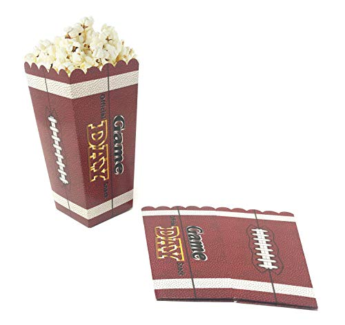 Set of 12 Paper Popcorn Boxes - Football Game Day Party Supplies Pack Snack -
