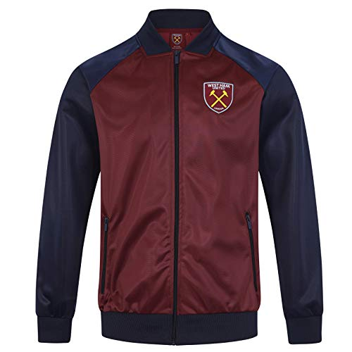 (West Ham United FC Official Gift Mens Retro Track Top Jacket Claret XL)