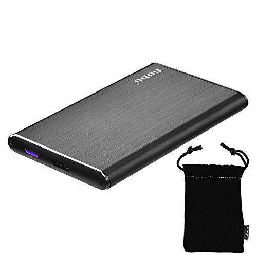 Hard Drive Enclosure External HDD Enclosure Aluminum USB 3.0 for 9.5mm 7mm 2.5 Inch SATA HDD and SSD Support UASP and 5TB Drives