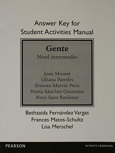SAM Answer Key for Gente: Nivel intermedio