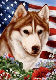 Siberian Husky Red Dog - Tamara Burnett Patriotic I Garden Dog Breed Flag 12'' x 17''