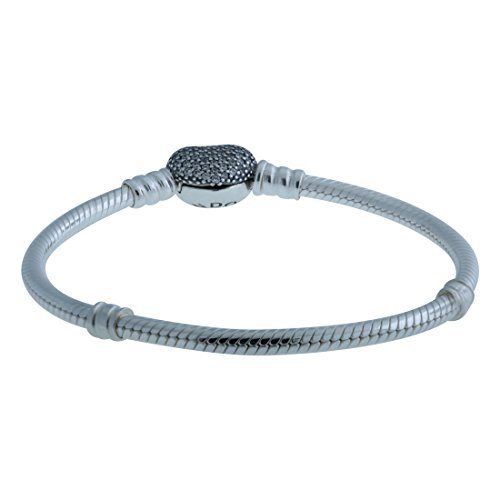 Clasp One (Pandora Women's Moments Silver Bracelet with Pave Heart Clasp - 590727CZ-21)