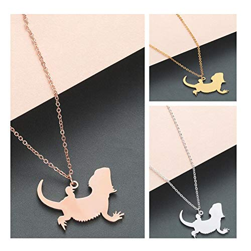 (tt-1 Animal Lizard Pendant Necklace Pet Reptile Bearded Dragon Necklace Collars Jewelry Souvenir Lovers Gift)