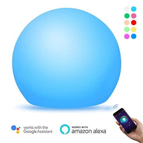 Smart Table Lamp WiFi Night Light Work with Amazon Alexa Echo/Google Home, Dimmable RBG LED Touch Ambient Bedside Lamp Color Changing Mood Lighting with Timer Voice Smartphone Remote Control