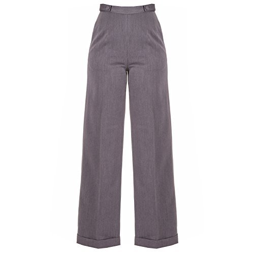 Banned Apparel Danse Jours Rtro Vintage 1940s Jambe Large Taille Haute Swing Pantalon Gris Anthracite