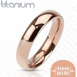 TIR-0009 Solid Titanium Rose Gold IP 4mm Wide Classic Band Ring; Comes With Free Gift Box