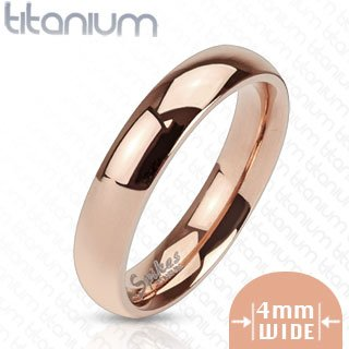TIR-0009 Solid Titanium Rose Gold IP 4mm Wide Classic Band Ring; Comes With Free Gift Box (Classic Solid Wide Band)