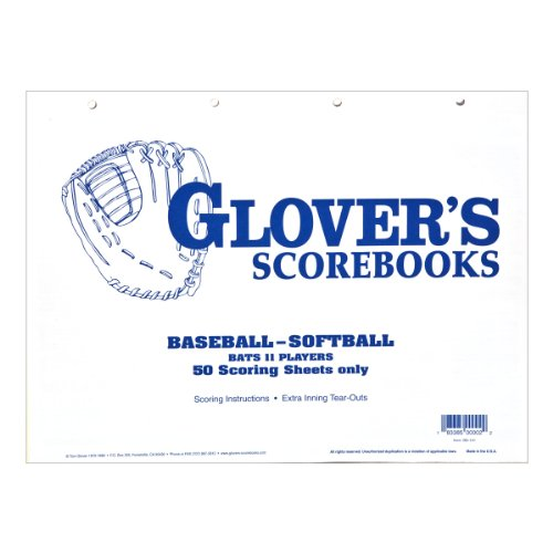 Glover's Scorebooks Baseball/Softball 50 Scoring Sheets (No Stats)