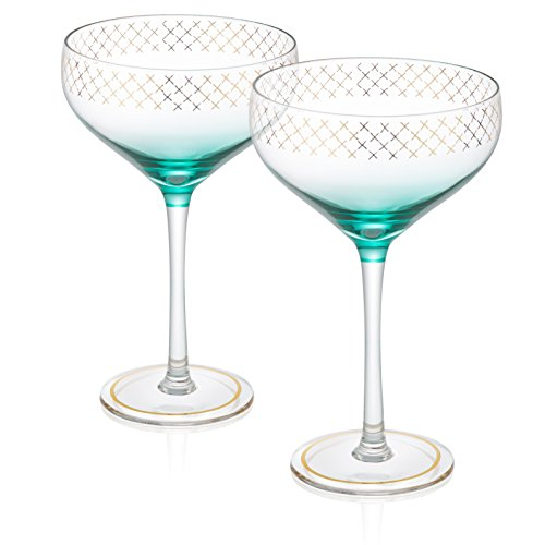Trinkware Soiree Set of 2 Champagne Coupes - Gold Detail With Blue Crystal Clear - 12oz, 7.5-inches Tall - Elegant Glassware And - Coupe Rim