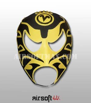 Airsoft-Max Ultimo Guerrero Mexican Luchador Mask for Kids in Black-Mascara para ninos
