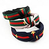 Colorful Stripe Headbands for Women - Hair Hoops with Bee Animal - Cross Knot Hairbands with Cloth Wrapped for Girls - 3Pcs