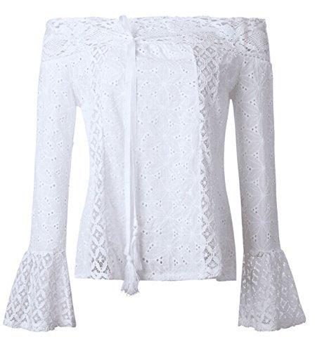 Teesblouse Superiore Casuale Solidi Pizzo Spalla Camicie Boho Di Delle Bianco Fuori Parte Dalla Aliven Donne PR6YqRSw