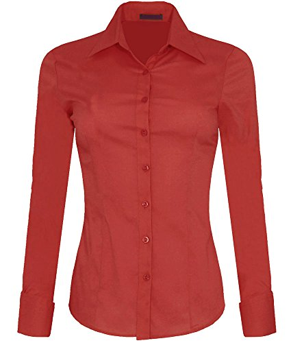 Iron Puppy Womens Long Sleeve Skinny Button Down Collared Shirts With Stretch XXX-Large Tomato