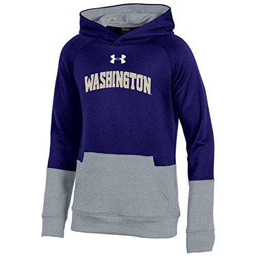 Under Armour NCAA Washington Huskies Youth Boys Boys Fleece Hood, Medium, Purple