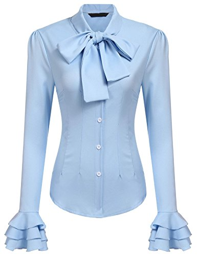 Neck Lotus Ruffle Shirt Retro Victorian Lolita Blouse Light Blue XXL ()