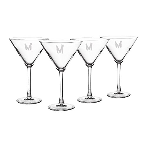 Cathy's Concepts Personalized Spooky Martini Glasses, Set of 4, Letter M -