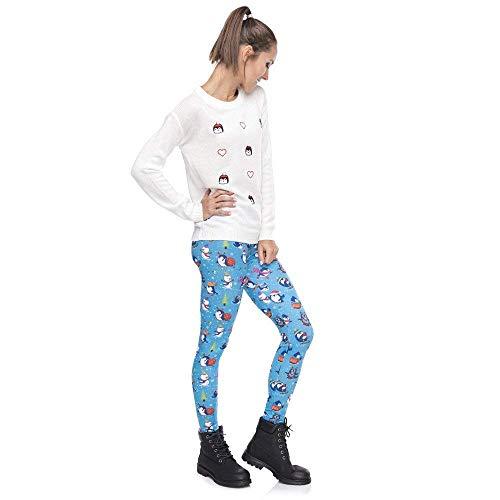 Fitness Mujer Mujeres Único Pantalones Lga49184 Leggings Cintura Yoga Invierno Legging Impresión Biran Alta Delgada Pingüinos Navidad De Serie FRwO7q