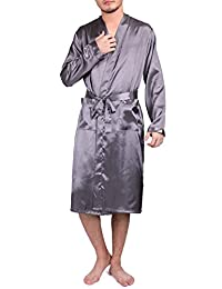 Binken Men's Satin Robe Pajamas Sleepwear Long Classic Charmeuse Robe