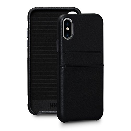 - Sena Bence Snap On Wallet - Handwrapped Leather Card Holder Case  Iphone X Xs - Black