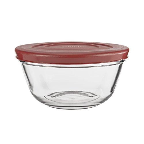 2.5 Quart Glass - Anchor Hocking Glass Mixing Bowls with Lids, Cherry, 2.5 Quart (Set of 2)