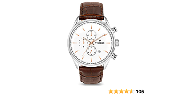 Vincero Luxury Men's Chrono S Wrist Watch - Top Grain Italian Leather Watch Band - 43mm Chronograph Watch - Japanese Quartz Movement… (Silver/Rose Gold)