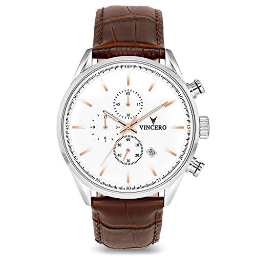 Vincero Luxury Men's Chrono S Wrist Watch — White dial with Brown Leather Watch Band — 43mm Chronograph Watch — Japanese Quartz Movement