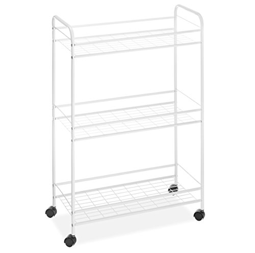 Storage Unit On Wheels 3 Shelves - Mobile Rolling Organizer Utility Cart - Best For Office, Bathroom, Laundry Room Bundle w Compartment Organizer