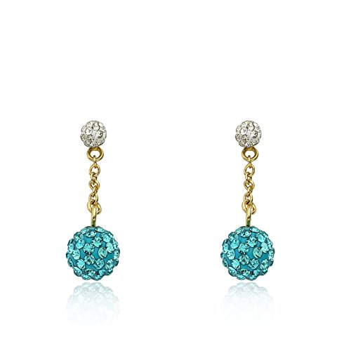 Molly Glitz Glitz Blitz 14k Gold-Plated White Tiny Crystal Ball Top & Aqua Crystals Ball Dangle Earring