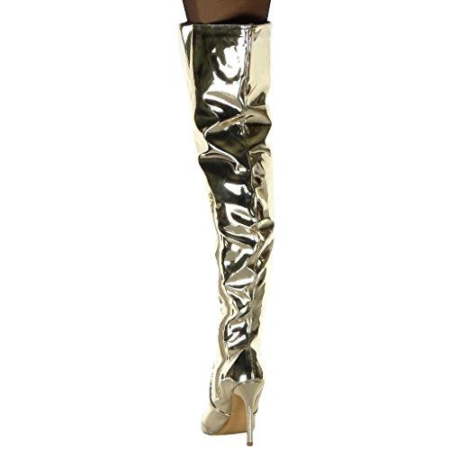 Bottes Stiletto De Mode Cuissarde Cm Chaussure 11 Aiguille Verni Pluie Botte Angkorly Femme Or Talon Haut Brillant wIYq1XUx