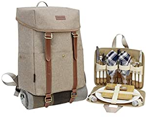 Picnic Backpack for 2 | Picnic Basket | Stylish All-in-One Portable Picnic Bag with Complete Cutlery Set, Stainless Steel S/P Shakers | Waterproof Fleece Picnic Blanket | Cooler Bag for Camping