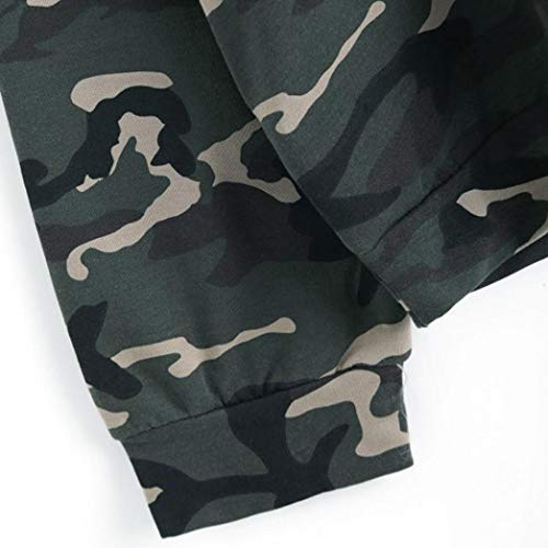 Capuche SANFAHSION Chic Mode Camouflage Lanterne Haut Sweat Manche Blouse Longue Lache Hoodie Mince Shirt Femmes zrzAwq