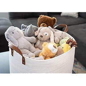 "Sweetzer & Orange Extra Large Woven Cotton Rope Storage Basket – 23""x20.5""x15.5"" w/Vegan Leather – Blanket Storage Baskets, Laundry and Toy Storage, Nursery Hamper – Off White XXL for Living Room"