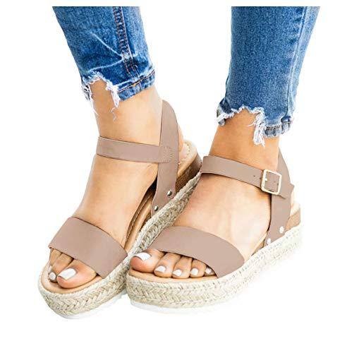 LAICIGO Women's Flatform Espadrilles Ankle Strap Buckle Open Toe Faux Leather Studded Wedge Summer Sandals (9, 5-Khaki)