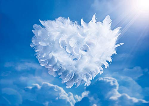 LYWYGG 7x5FT Father's Day Background Blue Sky Photography Backdrops Feather Love Backdrop Express Love Background Sky3ds Photography Studio Backgrounds CP-114]()