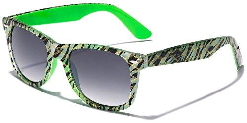 Retro Ladies Fashion Glitter Wayfarer Sunglasses - Zebra Frame Print - Green