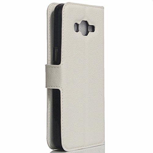 Samsung Galaxy J1 Mini Prime Funda carcasa / caso / case, KuGi ® Samsung Galaxy J1 Mini Prime Funda / caso- PU de cuero de alta calidad caja de la carpeta pata de cabra para Samsung Galaxy J1 Mini Pri blanco