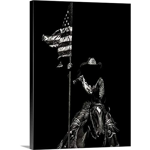 GREATBIGCANVAS Gallery-Wrapped Canvas Entitled Scratchboard Rodeo VI by Julie Chapman 30