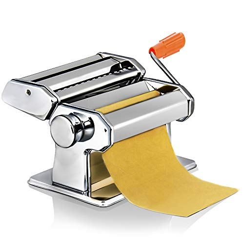 Sailnovo Pasta Maker Machine,Hand Crank Noodle Cutter Stainless Steel Manual Noodles Roller for Fresh Spaghetti Fettuccine Lasagna Tagliatelle